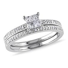 10K White Gold 0.32ctw Princess and Round Diamond Ring