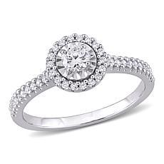 10K White Gold 0.39ctw Diamond Round Halo Ring