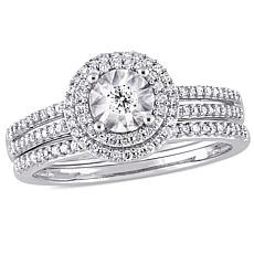 10K White Gold 0.40ctw Round Diamond Bridal Ring Set