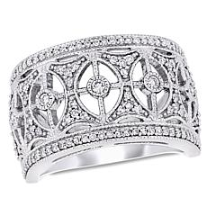 10K White Gold 0.50 cttw Diamond Vintage-Style Band Ring