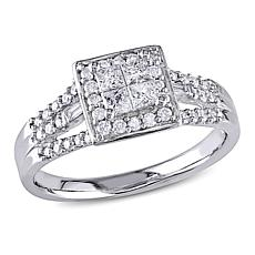 10K White Gold 0.5ctw Multi-Shape White Diamond Ring