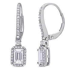 10K White Gold 1.06ctw Moissanite and 0.25ctw Diamond Frame Earrings