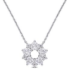 "10K White Gold 1.40ctw Moissanite Floral Pendant with 17"" Chain"