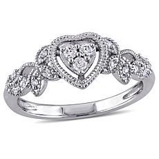 10K White Gold .14ctw Diamond Floral Shank Heart Ring