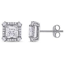 10K White Gold 1.55ctw Moissanite and 0.125ctw Diamond Stud Earrings