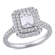10K White Gold 1.64ctw Moissanite Emerald-Cut Halo Engagement Ring