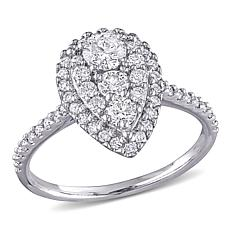 10K White Gold 1ctw Diamond Pear Pavé Engagement Ring