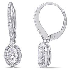 10K White Gold 1ctw Moissanite and 0.25ctw Diamond Frame Earrings
