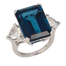 10K White Gold 20.2ctw London Blue and White Topaz Ring