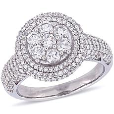 10K White Gold 2ctw Diamond Pavé Halo Engagement Ring