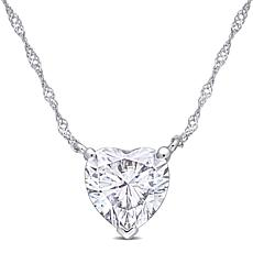 "10K White Gold 2ctw Moissanite Heart Solitaire Pendant with 17"" Chain"