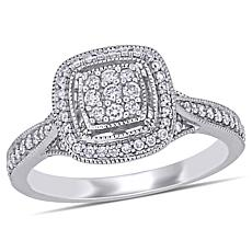 10K White Gold .33ctw Diamond Pavé Milgrain Engagement Ring