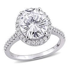 10K White Gold 4.40ctw Moissanite Oval Halo Engagement Ring