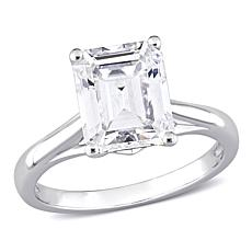 10K White Gold 4ctw Moissanite Emerald-Cut Solitaire Engagement Ring
