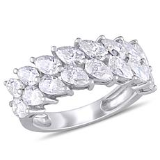 10K White Gold 4ctw Moissanite Semi-Eternity Band Ring