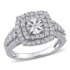 10K White Gold .50ctw Diamond Square Halo Ring