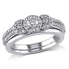 10K White Gold .50ctw Diamond Triple-Station 2-piece Bridal Ring Set