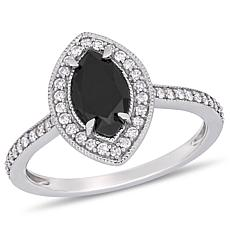 10K White Gold Black and White Diamond Double Marquise Ring