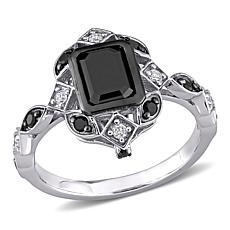 10K White Gold Black and White Diamond Vintage-Inspired Ring