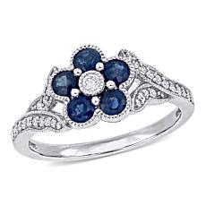 10K White Gold Diamond and Blue Sapphire Floral Engagement Ring