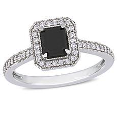 10K White Gold Emerald-Cut Black Diamond Diamond Halo Ring