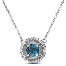 10K White Gold London Blue Topaz and Diamond Drop Necklace