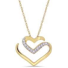 10K Yellow Gold 0.10ctw Diamond-Accented Heart Drop Necklace