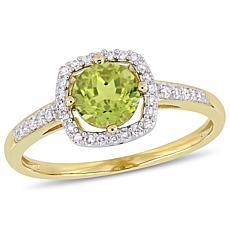 10K Yellow Gold 1.06ctw Peridot and Diamond Halo Ring
