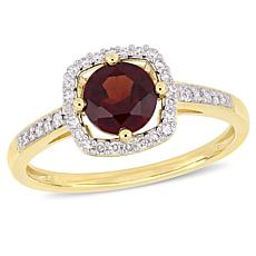 10K Yellow Gold 1.14ctw Garnet and Diamond Halo Ring