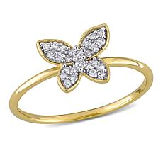 10K Yellow Gold .12ctw Diamond Butterfly Ring