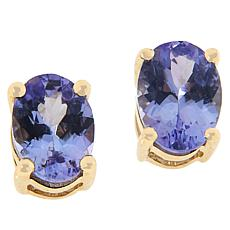 10K Yellow Gold Colored Gemstone Oval Stud Earrings