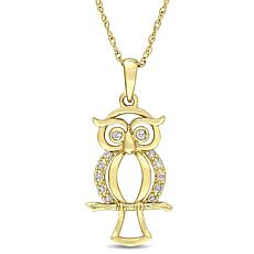 10K Yellow Gold Diamond-Accented Owl Pendant with Chain