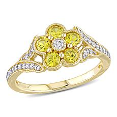 10K Yellow Gold Diamond and Yellow Sapphire Floral Engagement Ring