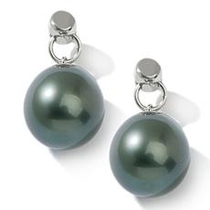 11-12mm Cultured Tahitian Pearl Sterling Silver Drops