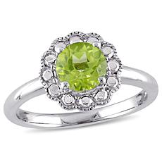 1.10ctw Peridot 10K White Gold Flower Ring