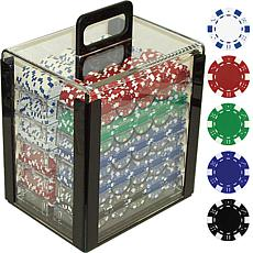 11.5 Gram Dice Striped Poker Chips with Carrier