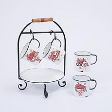 "11.6""L ""Hot Cocoa"" Holiday Serving Rack with Tray and Mugs"