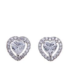 1.19ctw  Absolute™  Heart and Pavé  Stud Earrings