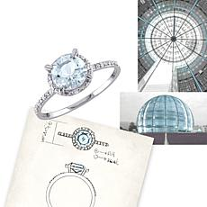 1.19ctw Aquamarine and Diamond 10K White Gold Halo Ring