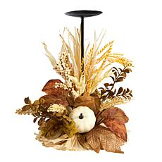 """12"""" Autumn Harvest and Pumpkin Fall Candle Holder"""