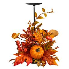 """12"""" Fall Maple Leaves, Berries Candle Holder"""