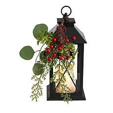 "12"" Holiday Berries and Greenery Metal Lantern"