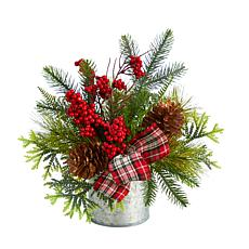 """12"""" Holiday Winter Pinecones, Berries Christmas Table"""