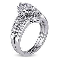 1.36ctw Marquise and Round Diamond 14K Gold Bridal Set