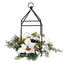 """14"""" Holiday Poinsettia, Berries and Pine Cone Candle Holder"""