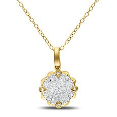 "14K Gold 0.4ctw Round Diamond Cluster Pendant with 18"" Cable Chain"