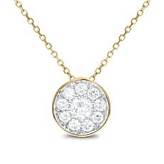"14K Gold 0.5ctw Round Diamond Cluster Pendant with 18"" Cable Chain"