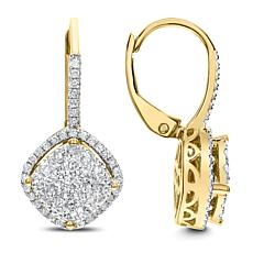 14K Gold 0.75ctw White Diamond Halo-Design Drop Earrings