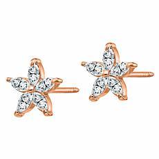 14K Gold 0.7ctw Moissanite Flower Earrings