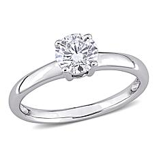 14K Gold 0.90ctw Moissanite Round Solitaire Engagement Ring